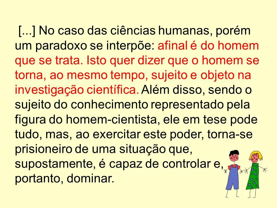 [...] No caso das ciências humanas, porém um paradoxo se interpõe: afinal é do homem que se trata.